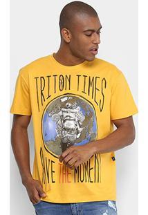 Camiseta Triton Save The Moment Masculina - Masculino-Amarelo