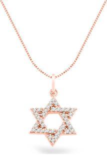 Pingente Estrela De Davi Ouro Rosé E Diamantes 19 Mm