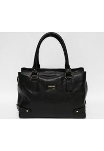 Bolsa Em Couro Texturizada- Preta & Dourada- 26X35,5Anette