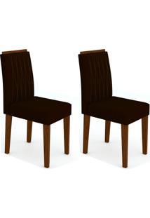Conjunto Com 2 Cadeiras Ana I Castanho E Preto
