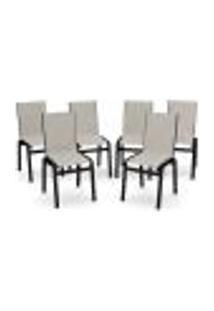 Kit 6 Cadeira Jantar Gourmet Alumínio Preto Tela Crepe