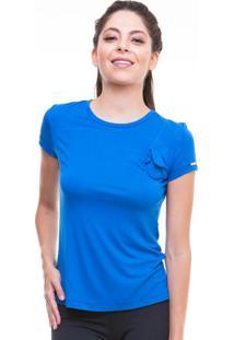 Blusa Lisa Com Laço No Peito Azul