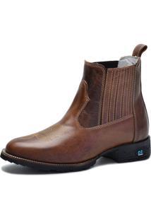 Bota Country Over Boots Bico Redondo Couro Tabaco