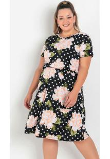 Vestido Floral E Poá Com Franzido Plus Size