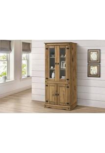 Cristaleira Colonial Rústico 4 Portas – Madeira Maciça – Cera Mel