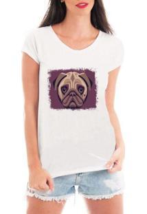 Camiseta Bata Criativa Urbana Pug Dog Ilustração - Feminino