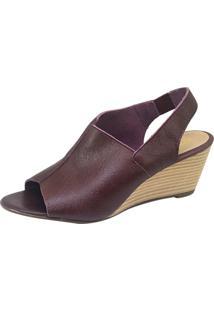 Sandália S2 Shoes Anabela Couro Bordô