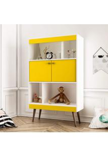 Estante Para Livros Baixa 2 Portas Retrô Landa Delmarco Móveis Amarelo/Branco