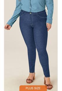 Calça Azul Escuro Skinny Jeans Com Elastano