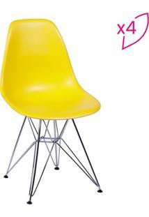 Jogo De Cadeiras Eames Dkr- Amarelo & Prateado- 4Pã§Sor Design