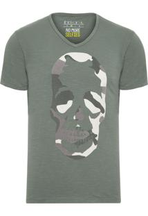 Camiseta Masculina Caveira Texturas - Verde