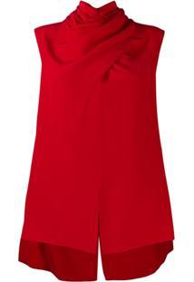 Alexander Mcqueen Blusa Com Decote Drapeado - Vermelho