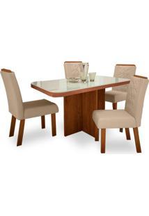 Mesa De Jantar Fusion 1,30M Com Vidro Offwhite + 4 Cadeiras Fusion Tecido 452 - Noce