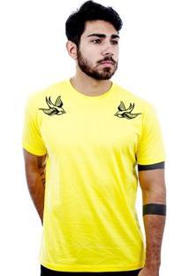 Camiseta Hardivision Andorinhas Manga Curta - Masculino-Amarelo