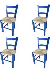 Kit 4 Cadeiras Lagiana Pequenas Eucalipto Azul Assento Palha - 59473 - Sun House