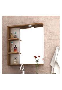 Espelheira Para Banheiro Lara Com Luminária Led Bosi Nogal E Branco