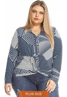 Camisa Feminina Estampa Geométrica Azul