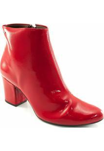 Bota Dakota Cano Curto Salto Bloco Verniz Feminina - Feminino-Vermelho