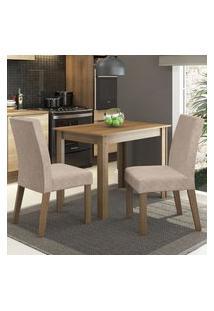 Conjunto Sala De Jantar Madesa Vic Mesa Tampo De Madeira Com 2 Cadeiras - Rustic/Imperial Marrom