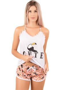 Pijama Bella Fiore Modas Short Doll Estampado Laranja