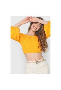 Blusa Cropped Colcci Lastex Amarela