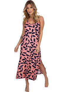Camisola Longuete Regata Com Fenda Coral Print - Kanui