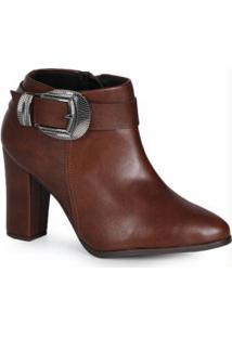 Ankle Boots Feminino Fivela Café
