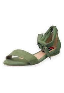 Sandália Rasteira Love Shoes Amarraçáo Traseiro Nó Verde Militar