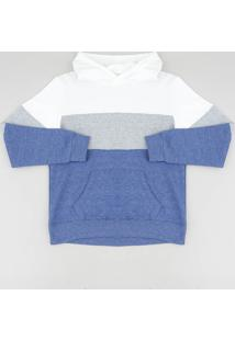 Blusão Infantil Em Moletom Com Recortes E Capuz Azul