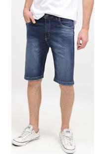 Bermuda Jeans Estonada- Azul Escuro- Leelee