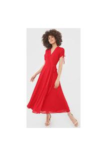 Vestido Polo Ralph Lauren Midi Transpassado Vermelho