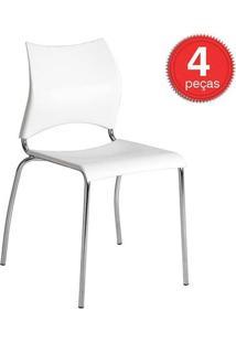 Cadeira 357 Cromada 04 Unidades Branca Carraro