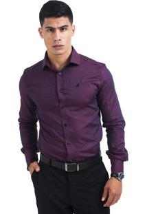 Camisa Social Masculina Slim Vinho 300101 Multicolorido