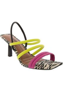 Sandália Dakota Salto Fino Tiras Tecido Onça Color