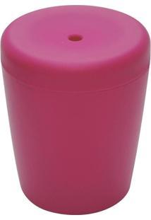 Puff Multiuso Corpo E Tampa Em Plastico Rosa