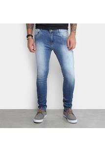 Calça Jeans Skinny Gangster Estonada Masculina - Masculino-Azul