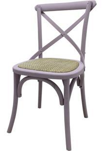 Cadeira Katrina Madeira Assento Em Rattan Cor Malva - 53050 - Sun House