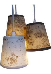 Lustre Pendente Crie Casa Cacho Flowers Bege