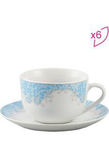 Jogo De Xícara Para Café Benidorm- Branca & Azul Claro