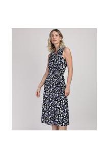 Vestido Feminino Estampado Floral Midi Regata Com Transpasse Preto