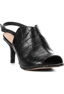 Sandália Couro Shoestock Salto Fino Western Feminina - Feminino-Preto