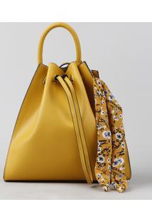 Bolsa Saco Feminina Transversal Com Lenço Amarela - Único