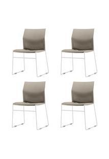 Kit 4 Cadeiras Connect Assento Bege Base Fixa Cinza - 57589 Bege
