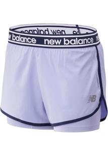 Shorts New Balance 2In1 Relentless   Feminino - Feminino-Roxo