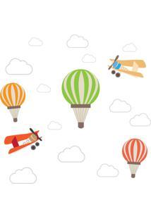 Adesivo De Parede Balões E Aviões Para Quarto De Bebê