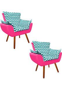 Kit 02 Poltrona Decorativa Opala Suede Composê Estampado Zig Zag Verde Tiffany D78 E Suede Rosa Barbie - D'Rossi