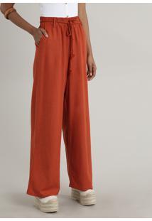 Calça Feminina Pantalona Com Linho E Cordão Cobre