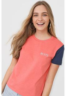 Camiseta Rusty Elemental Coral/Azul-Marinho - Coral - Feminino - Dafiti