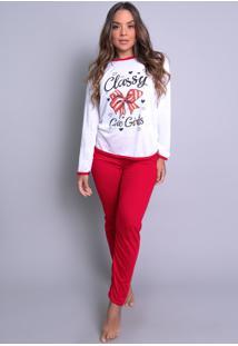 Pijamas Mvb Modas Longo Fechado Adulto Inverno Vermelho