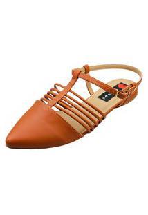Sapatilha Bico Fino Love Shoes Aberta Fivela Detalhes Tirinhas Caramelo